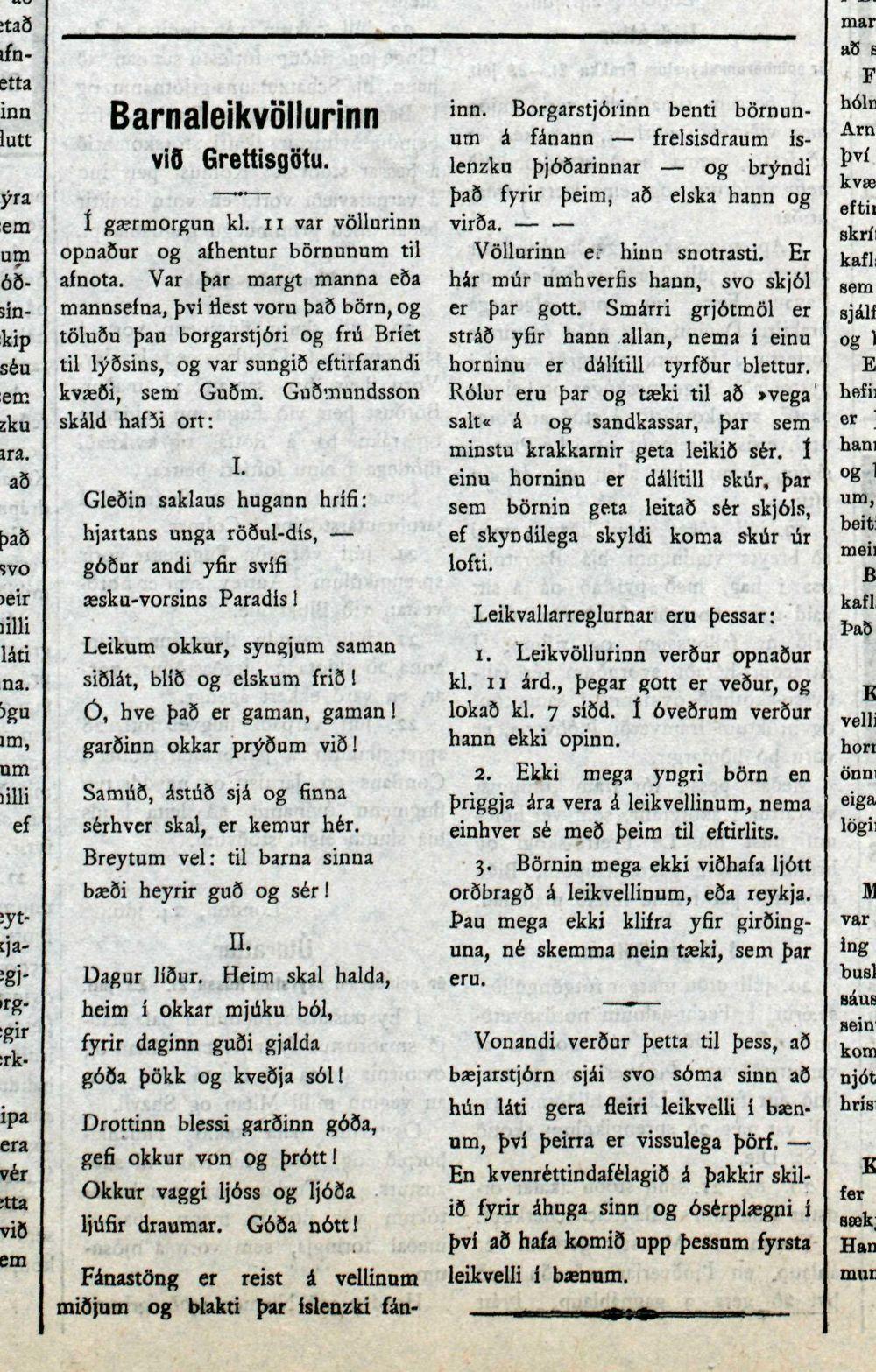 Morgunblaðið 27. júlí 1915.